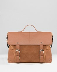 Asos Leather And Suede Mix Satchel In Tan Tan