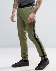 Asos Super Skinny Smart Tuxedo Joggers In Khaki Khaki Green