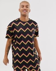 Liquor N Poker Co Ord T Shirt With Zig Zag Stripe Orange