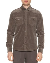 Tomas Maier Cord Button Down Shirt Jacket Dust Brown
