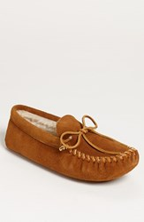 Minnetonka Men's Suede Moccasin With Faux Fur Lining