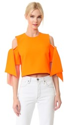 Milly Cropped Ansley Top Fluo Orange Peach
