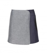 Victoria Beckham Denim Wrap Skirt Grey