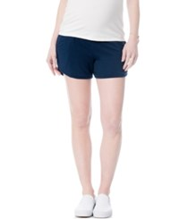 A Pea In The Pod Maternity Under Belly Drawstring Shorts Navy