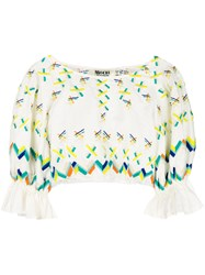 All Things Mochi Embroidered Cropped Blouse White