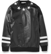 Givenchy Star Applique Leather And Neoprene Sweatshirt Black