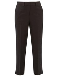 Margaret Howell Straight Wool Linen Hopsack Cropped Trousers Navy