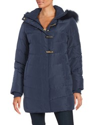 Ellen Tracy Fox Fur Trimmed Puffer Coat Navy Blue