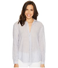 Joe's Jeans Dana Striped Shirt Blue White Women's Clothing