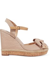 Tory Burch Penny Bow Embellished Faille Wedge Sandals Beige