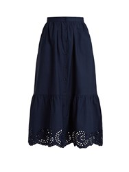 Mes Demoiselles Clem Button Down Cotton Skirt Navy
