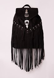 Missguided Western Buckle Fringed Rucksack Black