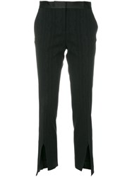 Versace Cropped Tailored Trousers Viscose Silk Elastodiene Spandex Elastane Black