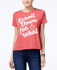 Mighty Fine Juniors' Scroll Down Graphic T Shirt Heather Red
