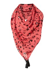 Oui Leopard Print Scarf With Tassels Coral