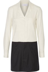 Derek Lam 10 Crosby By Pinstriped Wool Blend Mini Shirt Dress Cream