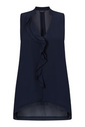 James Lakeland Ruffle Front Top Blue