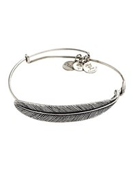 Alex And Ani Plume Feather Bangle Bracelet Silver