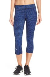 Women's Under Armour Heatgear Print Capris Cobalt Black Optic Net
