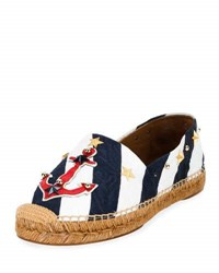 Dolce And Gabbana Anchor Embellished Corduroy Espadrille White Navy Multi