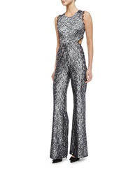 Alexis Sleeveless Floral Lace Jumpsuit Silver