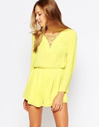 Love Lace Front Playsuit Yellow