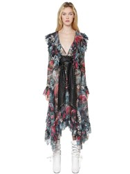 Philosophy Di Lorenzo Serafini Ruffled Floral Printed Lace Dress