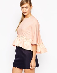 Dahlia Swing Top With Oversized Frill Hem Pink