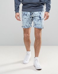 Asos Denim Shorts In Slim Light Wash With Bleach Spots Mid Wash Blue