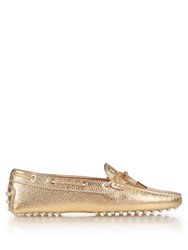 Tod's Heaven Lace Up Leather Loafers Gold