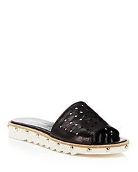 Charles David Space Perforated Studded Slide Sandals Black Silver