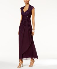 Betsy And Adam Sequined Lace Ruched Gown Eggplant