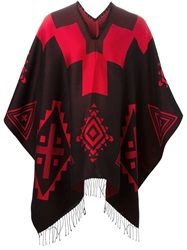Marcelo Burlon County Of Milan Aztec Pattern Poncho Black
