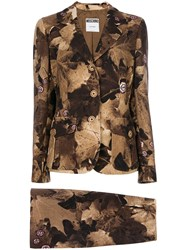 Moschino Vintage Leaf Print Skirt Suit Brown