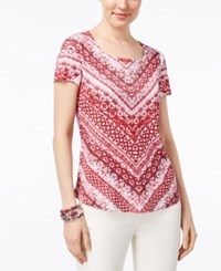Style And Co Petite Floral Print Sublimated T Shirt Only At Macy's Red Scarves