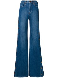 Alice Olivia Buttoned Side Flared Jeans Blue