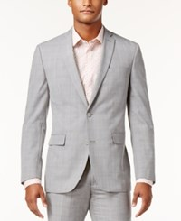 Bar Iii Men's Slim Fit Light Gray Plaid Suit Jacket Only At Macy's Grey