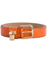 Dolce And Gabbana Buckled Belt Women Calf Leather 75 Yellow Orange