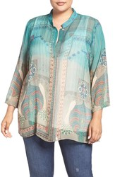 Citron Plus Size Women's Peacock Print Silk Blouse