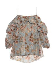 Zimmermann Pavilion Off The Shoulder Top Blue Multi