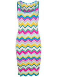 Milly Chevron Stripe Fitted Dress Multicolour