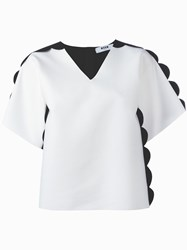 Msgm Scalloped Contrast Blouse White
