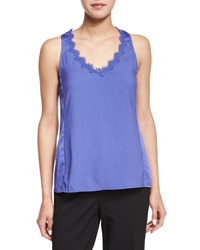 Nanette Lepore Sleeveless V Neck Tank W Lace Detail