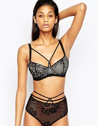 Asos Fuller Bust Patsy Fishnet Lace Caged Underwire Bra Black