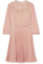 Prada Embellished Pleated Silk Georgette Midi Dress Pastel Pink