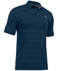 Under Armour Men's Playoff Performance Striped Golf Polo Academy Wide Stripe