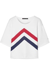 Perfect Moment Cropped Printed Cotton Jersey T Shirt White