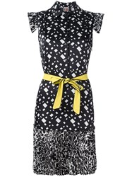 I'm Isola Marras Pleated Patterned Dress Black
