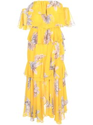 Misa Los Angeles Floral Ruffle Layer Dress Yellow