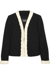 Boutique Moschino Cable Knit Trimmed Wool Crepe Jacket Black